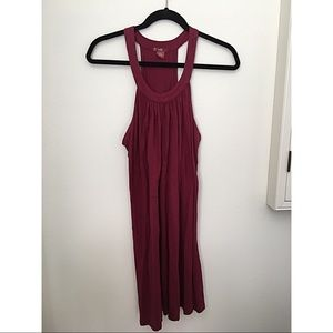 Bobi High Neck Maroon Strapless Dress